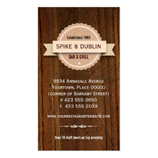 Rustic Restaurant Hospitality Pack Of Standard Business Cards