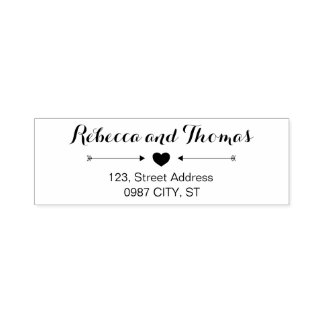 Rustic return address self-inking wedding stamp