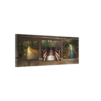 Rustic Roads Woods Bridge Photography Collage Canvas Print