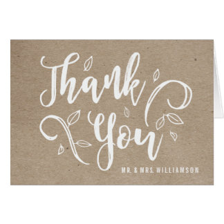 Rustic Romance / Faux Kraft Paper Thank You Note Card