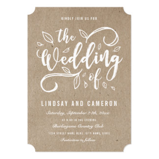 Rustic Romance | Faux Kraft Paper Wedding Invite