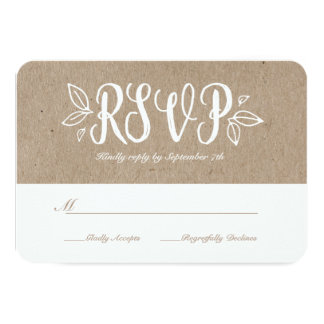 Rustic Romance RSVP Card 9 Cm X 13 Cm Invitation Card