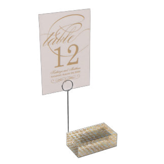Rustic Romance Wedding | Faux Gold Foil Mosaic Table Card Holders