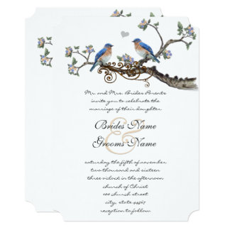 Rustic Romantic Bluebirds Wedding Invitations