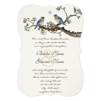 Rustic Romantic Bluebirds Wedding Invitations