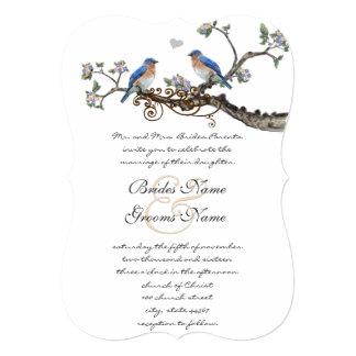 "Rustic Romantic Bluebirds Wedding Invitations 5"" X 7"" Invitation Card"