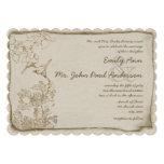 Rustic Romantic Brown Paper Lovebirds Wedding Custom Invites