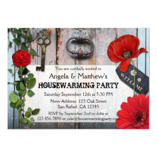 Rustic Romantic Floral Wood Housewarming Invite