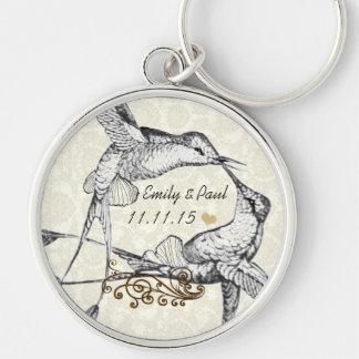 Rustic Romantic Hummingbird Kiss Love BirdWedding Silver-Colored Round Key Ring