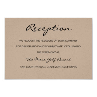 Rustic Romantic Reception or Accomodation Card