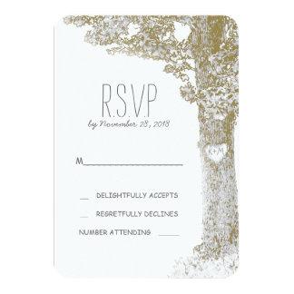 Rustic romantic tree wedding RSVP cards