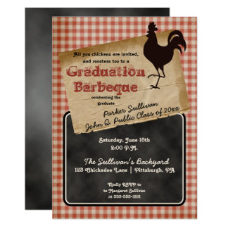 Rustic Rooster Backyard BBQ Graduation Party Card