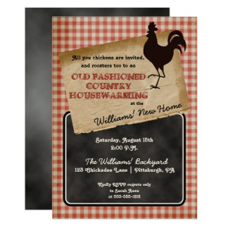 Rustic Rooster Backyard Cookout Housewarming Card