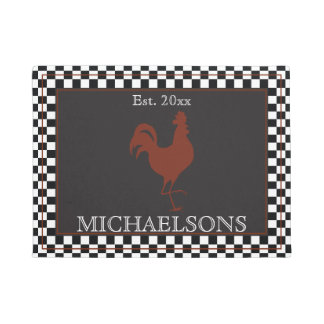 Rustic Rooster with Black | White Checks Name Doormat
