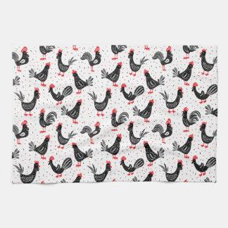 Rustic roosters tea towel