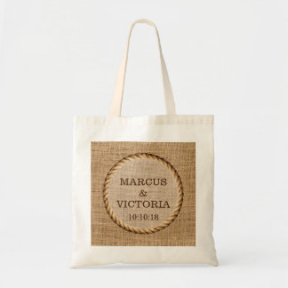 Rustic Rope Country Wedding Burlap Tote Bag