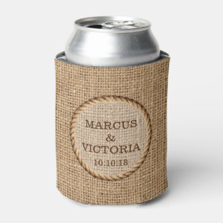 Rustic Rope Country Wedding Can Cooler