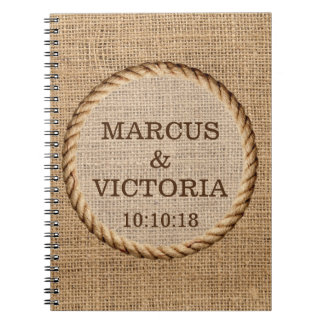 Rustic Rope Country Wedding Hessian Spiral Notebook