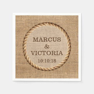 Rustic Rope Country Wedding Jute Paper Napkin