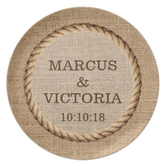 Rustic Rope Country Wedding Plate