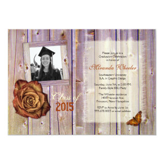 Rustic Rose and Butterfly Girl Grad Photo Invite