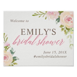 Rustic Rose Bridal Shower Welcome Sign White