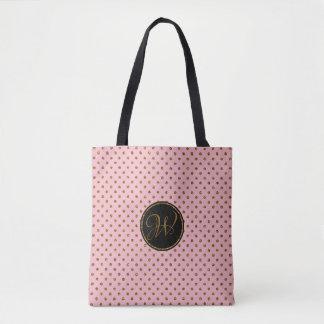 Rustic Rose Gold Glitter Polka Dots Monogrammed Tote Bag