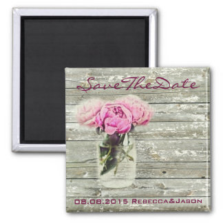 rustic rose mason jar wedding save the date refrigerator magnet