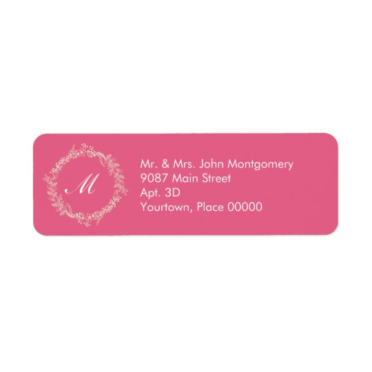 Rustic Rose Pink Outlined Floral Wreath Monogram Return Address Label