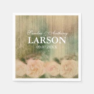 Rustic Rose Wedding Napkin Paper Napkin