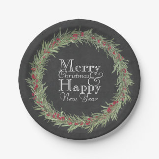 Rustic Rosemary and Berries Watercolor/Chalkboard 7 Inch Paper Plate
