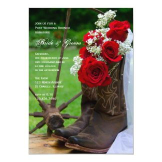Rustic Roses and Cowboy Boots Post Wedding Brunch Card