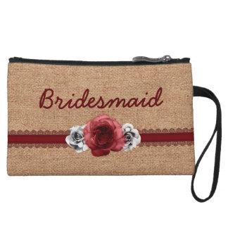 Rustic Roses - Burlap Lace Wedding Bridesmaid Gift Wristlet Purses