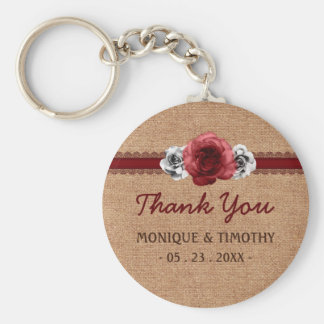 Rustic Roses - Burlap Lace Wedding Thank You Basic Round Button Key Ring