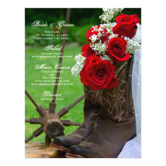 "Rustic Roses Cowboy Boots Country Wedding Menu 8.5"" X 11"" Flyer"