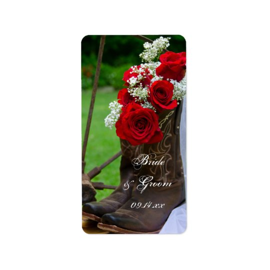 Rustic Roses Cowboy Boots Country Western Wedding Label