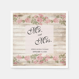 Rustic Roses On Wood Wedding Disposable Napkins