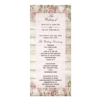 Rustic Roses On Wood Wedding Program Rack Card