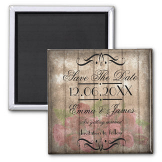 Rustic roses wood Save the Date Wedding Magnet