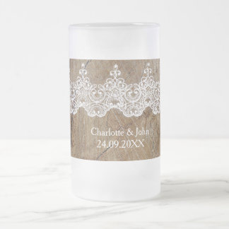 Rustic Royal Save The Date Frosted Glass Mug Gift