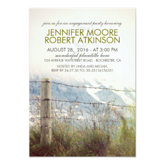 Rustic Rural Fence Post Country Engagement Party Card