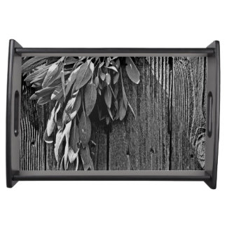 Rustic Sage - black and white Serving Tray