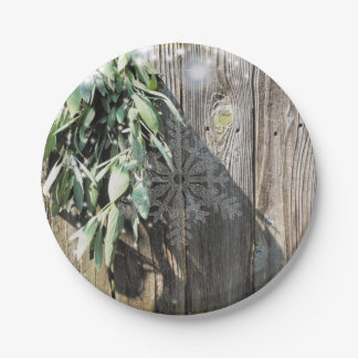 Rustic sage with twinkle lights and snow flake paper plate