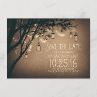 Rustic Save the Date & Fireflies Mason Jars