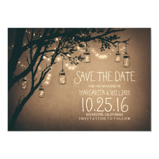 Rustic Save the Date & Fireflies Mason Jars Card