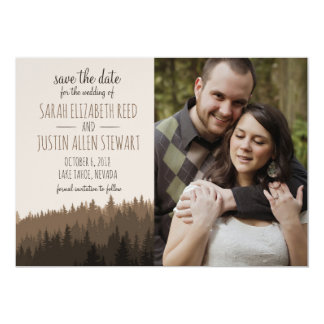 Rustic Save the Date for a Mountain wedding Card