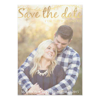 Rustic Save the Date invitation vintage gold