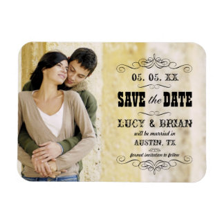 Rustic Save the Date Photo Magnet