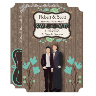 Rustic Save the Date, Two Grooms Card