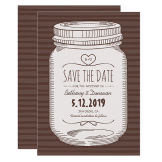 Rustic Save The Date Vintage Country Mason Jar Card